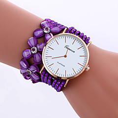 cheap Bracelet Watches-Women's Quartz Bracelet Watch Rhinestone PU Band Flower Sparkle Casual Elegant Fashion Black White Blue Red Brown Pink Purple Rose
