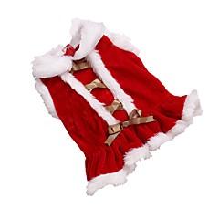 お買い得  猫の服-ネコ / 犬 ドレス 犬用ウェア ソリッド レッド フリース コスチューム ペット用 女性用 クリスマス