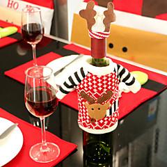 2pcs μπουκάλι κρασί καλύπτει σύνολα Χριστουγεννιάτικο πάρτι Σάντα ρούχα καπάκι Βασίλη για τα Χριστούγεννα μπουκάλι δώρο κόκκινο νέο έτος