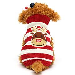 abordables Ropa para Gato-Gato Perro Suéteres Ropa para Perro Reno Negro Rojo Verde Azul Algodón Disfraz Para mascotas Hombre Mujer Bonito Navidad
