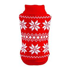 お買い得  猫の服-ネコ 犬 セーター クリスマス 犬用ウェア スノーフレーク柄 レッド ブルー コットン コスチューム ペット用 男性用 女性用 新年