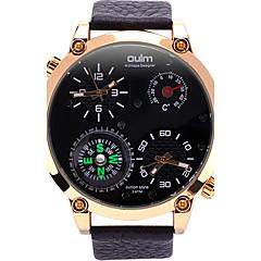 Oulm Ανδρικά Στρατιωτικό Ρολόι Ρολόι Καρπού Μοναδικό Creative ρολόι Χαλαζίας Compass Θερμόμετρα Διπλές Ζώνες Ώρας Γνήσιο δέρμα Μπάντα