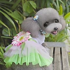 お買い得  猫の服-ネコ 犬 ドレス 犬用ウェア フラワー グリーン ピンク ファブリック コスチューム ペット用 女性用 キュート ファッション