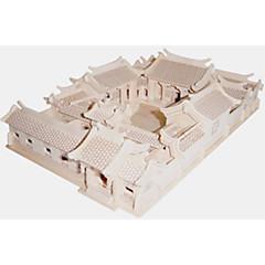 puzzle-uri Puzzle Lemn Blocuri de pereti DIY Jucarii Pătrat / Arhitectura Chineză 1 Lemn Cristal