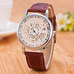 Ανδρικά Διάφανο Ρολόι μηχανικό ρολόι Αυτόματο κούρδισμα / PU Μπάντα Καθημερινό Μαύρο Καφέ
