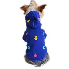 お買い得  猫の服-ネコ 犬 パーカー パジャマ 犬用ウェア ベア イエロー レッド ブルー コットン コスチューム ペット用 男性用 女性用 カジュアル/普段着
