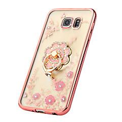 olcso Galaxy S6 Edge tokok-Case Kompatibilitás Samsung Galaxy Samsung Galaxy S7 Edge Strassz Galvanizálás Tartó gyűrű Átlátszó Minta Hátlap Virág TPU mert S7 edge