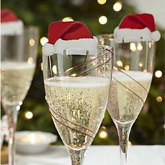 3db vörösboros üveg dekorációs kártya a karácsonyi napon a véletlenszerű