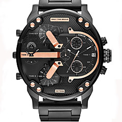 preiswerte Tolle Angebote auf Uhren-Herrn Armbanduhr Kalender Duale Zeitzonen Cool Leder Band Analog Luxus Retro Freizeit Schwarz - Rotgold Zwei jahr Batterielebensdauer