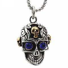 tanie -męska styl punk uroku wisiorek naszyjnik ze stali nierdzewnej 316L retro rzeźba kształt czaszki niebieski gem biżuterię