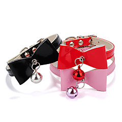 Dog Collar Adjustable / Retractable With Bell Hearts Bowknot PU Leather Black Red Pink