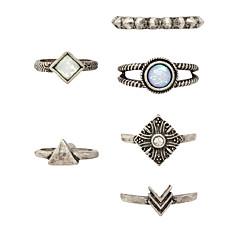 お買い得  指輪-女性用 バンドリング 指輪  -  オパール, 合金 7 シルバー 用途 パーティー 日常 カジュアル