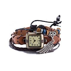 billige Klokketilbud-Dame Moteklokke Armbåndsur Quartz Vannavvisende Lær Band Vintage Bohemsk Armring Brun