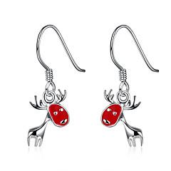 Beszúrós fülbevalók Függők Fülbevaló Fülbevaló szett karácsonyi Réz Ezüstözött Animal Shape Szarvas Piros Ékszerek MertParti Napi