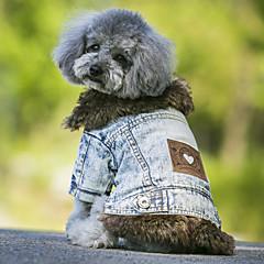 お買い得  犬用ウェア&アクセサリー-犬 コート / デニムジャケット 犬用ウェア ジーンズ ブラック / ブルー フリース / デニム コスチューム ペット用 カウボーイ / 保温 / ファッション