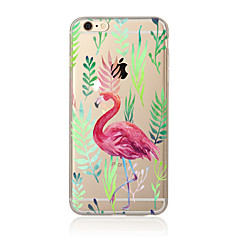 olcso iPhone tokok-Case Kompatibilitás Apple iPhone X iPhone 8 Plus iPhone 5 tok iPhone 6 iPhone 7 Áttetsző Minta Fekete tok Flamingó Puha TPU mert iPhone X