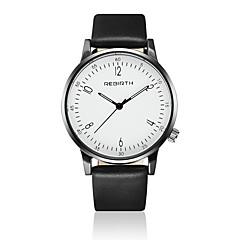 REBIRTH Herre Modeur Armbåndsur Quartz / Læder Bånd Afslappet Minimalistisk Sort Hvid