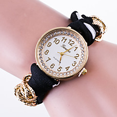 voordelige Bloemenhorloges-Dames Modieus horloge Armbandhorloge Kwarts / Stof Band Bloem Gestipt Informeel Zwart Wit Rood Roze Marineblauw roze