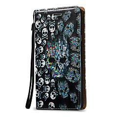Недорогие Чехлы и кейсы для Galaxy Note 5-Кейс для Назначение SSamsung Galaxy Бумажник для карт Кошелек Флип Чехол Черепа Твердый Кожа PU для Note 5 Note 4 Note 3
