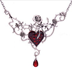 Женский Ожерелья с подвесками Заявление ожерелья Синтетический рубин В форме цветка Геометрической формы Роуз Синтетические драгоценные
