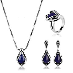 Women's Jewelry Set Synthetic Sapphire Classic European Synthetic Gemstones Alloy 1 Necklace 1 Pair of Earrings Rings For Party Daily