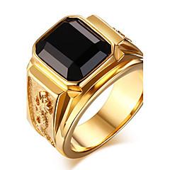 Męskie Duże pierścionki Pierscionek Onyks Modny biżuteria kostiumowa Agat Stal tytanowa Biżuteria Na Codzienny Casual