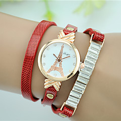cheap Bracelet Watches-Women's Quartz Bracelet Watch Imitation Diamond Leather Band Eiffel Tower Simulated Diamond Watch Fashion Black White Red Brown Green