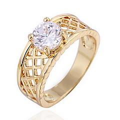 お買い得  指輪-女性用 指輪 ゴールデン ジルコン キュービックジルコニア 合金 日常 カジュアル コスチュームジュエリー
