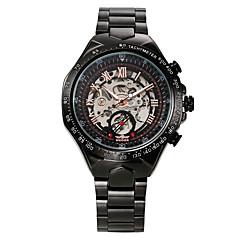 お買い得  メンズ腕時計-WINNER 男性用 スケルトン腕時計 リストウォッチ 機械式時計 自動巻き 30 m 耐水 透かし加工 光る ステンレス バンド ハンズ ぜいたく ヴィンテージ ブラック - ホワイト-ブラック ブラック ゴールドとブラック / 速度計 / 速度計