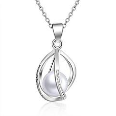 お買い得  ネックレス-女性用 真珠 真珠 純銀製 ペンダントネックレス  -  ぶら下がり式 楕円形 シルバー ネックレス 用途 クリスマスギフト 結婚式 パーティー