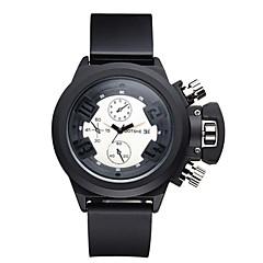 お買い得  メンズ腕時計-ASJ 男性用 リストウォッチ 日本産 クォーツ 30 m 耐水 クール シリコーン バンド ハンズ チャーム カジュアル ファッション ブラック - ホワイト 1年間 電池寿命 / SSUO SR626SW