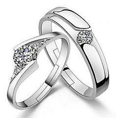 billige Ringe-Ringe Bryllup Fest Daglig Afslappet Smykker Sølvbelagt Parringe Midiringe Ring Forlovelsesring 1 par,Justerbar Sølv