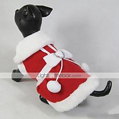 お買い得  猫の服-ネコ 犬 コート ドレス 犬用ウェア クリスマス 新年 蝶結び レッド コスチューム ペット用