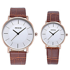 cheap Couple Watches-KEZZI Couple's Wrist Watch Imitation Diamond / Cool Leather Band Casual / Fashion Black / White / Brown