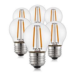 6 stk. 2w e26 / e27 ledede glødelamper pærer g45 2 cob 190l m varm hvid dekorative 220v-240v