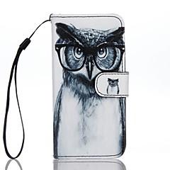 Για Πορτοφόλι Θήκη καρτών με βάση στήριξης Ανοιγόμενη Με σχέδια tok Πλήρης κάλυψη tok Κουκουβάγια Σκληρή Συνθετικό δέρμα για AppleiPhone