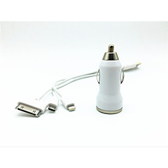 universal Dual USB Car Charger mit Ladekabel für iphone 5 / 5s / iPhone 4 / 4S / Samsung (20 cm)