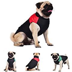Kat Hund Frakker Vest Hundetøj Hold Varm Farveblok Rød Grøn Blå Kostume For kæledyr
