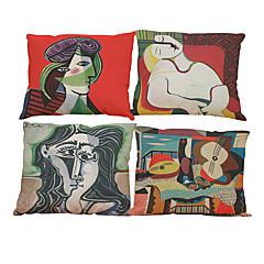 """készlet 4 a világhírű festmény színes picasso nordic minimalista párnahuzat (18 """"* 18"""")"""