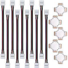 abordables Accesorios LED-zdm 5pcs conector divisor rápida 10mm forma de 4 conductores para 5050 rgb con 10pcs conector luz de tira de 5050 RGB