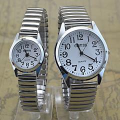 זול שעוני גברים-בגדי ריקוד גברים בגדי ריקוד נשים לזוג שעון יד קווארץ שעונים יום יומיים מתכת אל חלד להקה יום יומי כסף