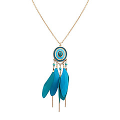 Pendant Necklaces Jewelry Party Daily Casual Oval Tassels Euramerican Alloy Feather Women 1pc