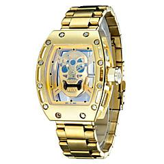 voordelige Horloges met stalen band-Heren Polshorloge Skeleton horloge Modieus horloge Japans Kwarts Waterbestendig s Nachts oplichtend Roestvrij staal Band Luxe Vintage