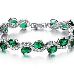 Lánc & láncszem karkötők Kristály Szintetikus smaragd Divat Kristály Cirkonium Hamis gyémánt Ötvözet Ékszerek Ékszerek Kompatibilitás