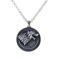 Męskie Damskie Naszyjniki z wisiorkami Biżuteria Circle Shape Animal Shape Wilk Stop Okragły Unikalny Logo Wiszący Silver Bronze Biżuteria