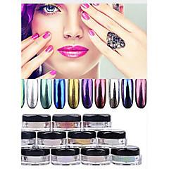 12 color de las uñas de polvo polvo ultrafino de pigmento en polvo de oro cromo espejo brilla clavo las uñas con lentejuelas decoraciones
