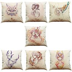 7 szt Bielizna Poszewka na poduszkę Pokrywa Pillow,Nowość Textured Wildlife Słowa i cytaty StałyPrzypadkowy Biuro / Biznes Tradycyjny /