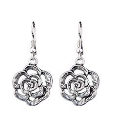Kolczyki wiszące Modny Postarzane Bohemia Style euroamerykańskiej Rzeźniony Pusty Stop Flower Shape Silver Biżuteria NaŚlub Impreza