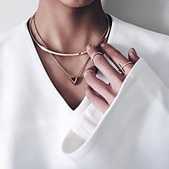お買い得  ネックレス-女性用 チョーカー / ペンダント  -  幾何学図形, ぶら下がり式, ファッション ゴールド ネックレス ジュエリー 用途 パーティー, ビジネス, 日常
