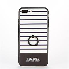 Недорогие Кейсы для iPhone 5-Кейс для Назначение Apple iPhone 7 Plus iPhone 7 Кольца-держатели С узором Рельефный Кейс на заднюю панель Полосы / волосы Твердый ПК для